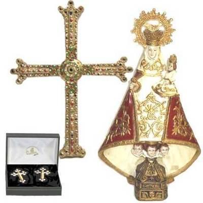 Virgen de Covadonga policromada + Cruz de la Victoria para colgar