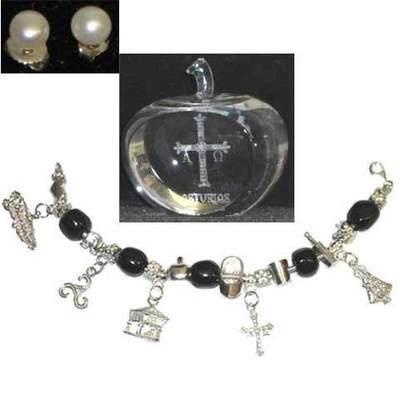 La pusera de Asturias plata y azabache + Manzana de cristal con la cruz de la victoria