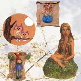 Figura Xana, Cuadro Buho y Portalapices Trasgu, Pergamina diañu