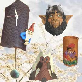 Relojes pendulo, Buho sobremesa, Mascara Busgosu y Portalapices trasgu