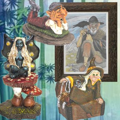 Cuadro Nuberu, Hada sentada, Duende soñador y Bruja tesoro