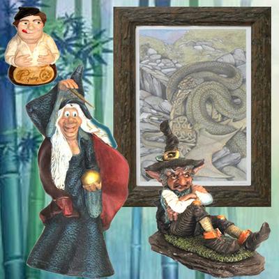 Cuadro Cuelebre, Bruja barita magica, Duende Chaman y Papon