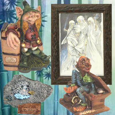 Cuadro  Guaxa, Duende libro, Trasgu masera y Piedra nuberu
