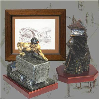 Minero vagonero, Cuadro carboncillo y horreo bronce con carro