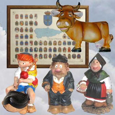 Cuadro escudos de los concejos, figuras comic Pinin