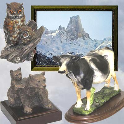 Cuadro Picu Urriellu, Vaca carreña, Buho con cria y Oso con cria
