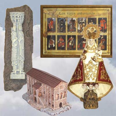Cuadro reyes asturianos, Virgen Covadonga, Apostoles y Santa Maria del Naranco