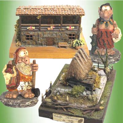 Casa y Teito de piedra con figuras celtas