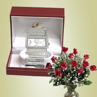 Reloj con circonitas - pulsera acero
