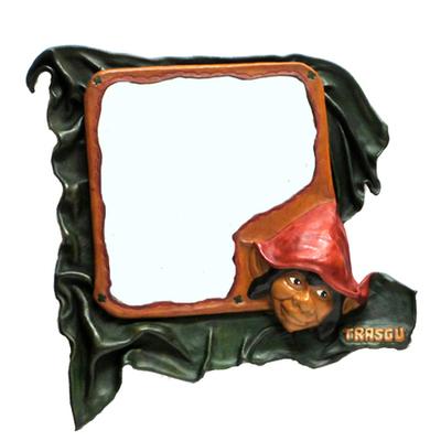 Espejo trasgu cuero artesanal