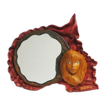 Espejo Xana cuero artesanal
