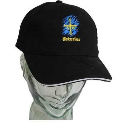 Gorra negra bandera Asturias bordada