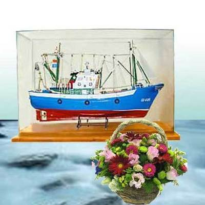 Barco maqueta con luz y vitrina