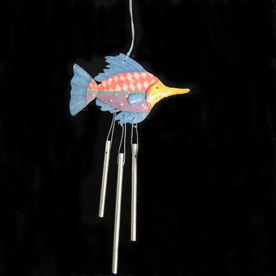Mobil pez y colgantes metal azul