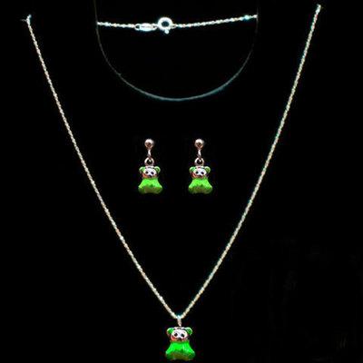 Conjuntos gargantilla/pendientes plata y esmalte verde -ositos