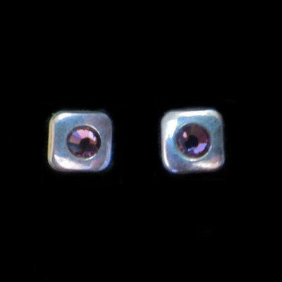 Pendientes plata presion circonita cuadrado color violeta