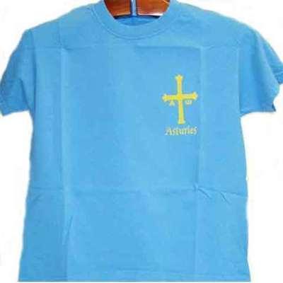 Cruz de la victoria azul degradado con letras Asturies