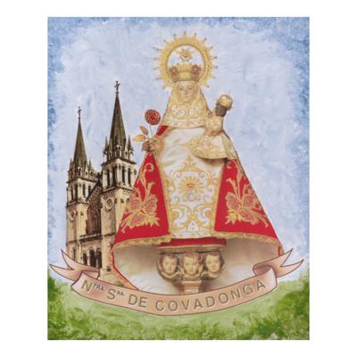 Azulejo Virgen de Covadonga con basilica y escudo asturiano