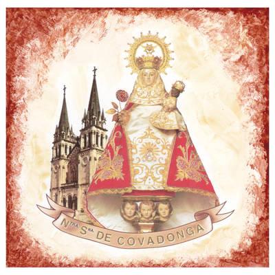 Azulejo Virgen de Covadonga con basílica 15 x 15 cm.