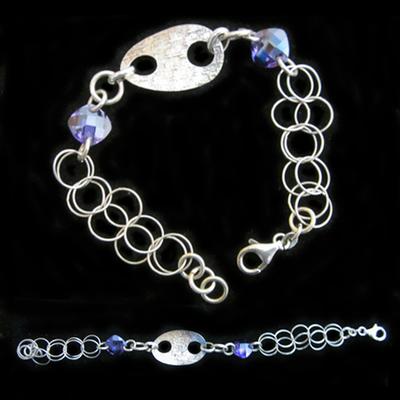 Pulsera plata una argolla cadena doble y piedras naturales color violeta