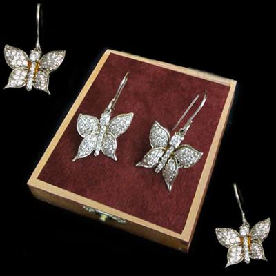 Pendientes mariposa plata colgar con circonitas