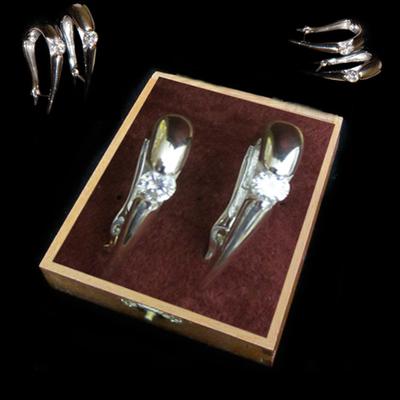 Pendientes aro plata con circonita