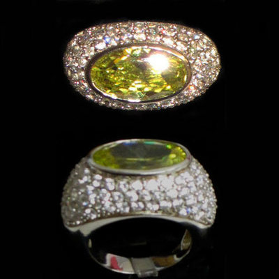 Anillo plata diseño con circonitas y piedra natural color verde