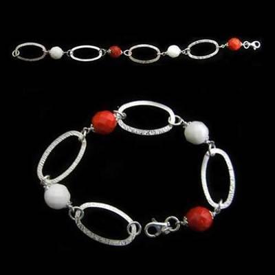 Pulsera plata bola facetada blanca y roja