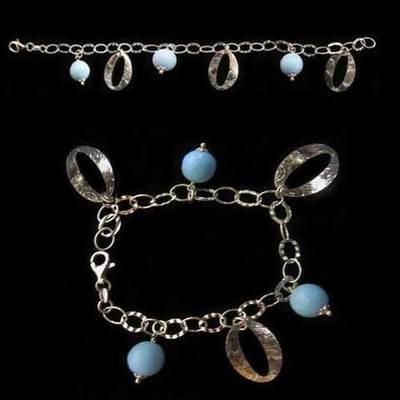 Pulsera plata 3 bolas redondas y azules con 3 argollas