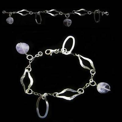 Pulsera plata bolas violeta irregulares y argollas
