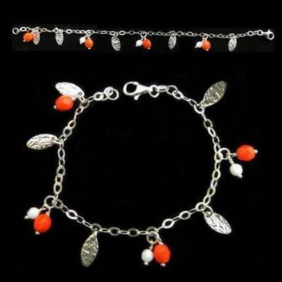 Pulseras plata con piedras naturales rojas y blancas