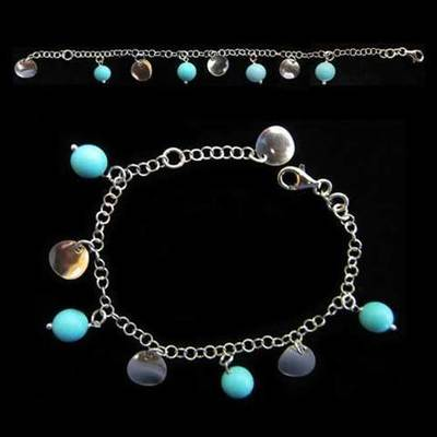 Pulsera plata bolas redondas azules