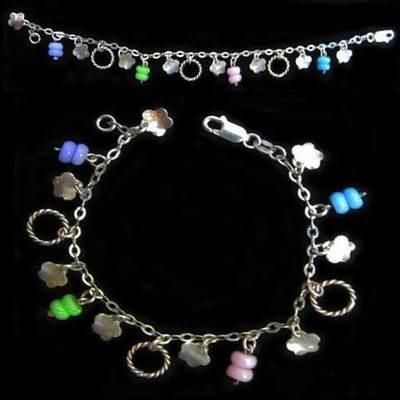 Pulsera plata diseño multicolores