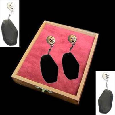 Pendientes presión/colgar plata con piedras naturales negras