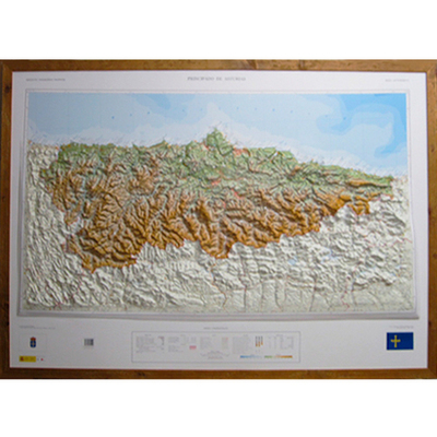 Mapa de Asturias relieve supergrande