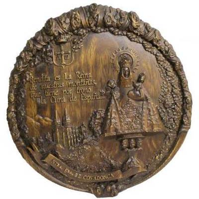 Virgen de Covadonga talla redonda colgar