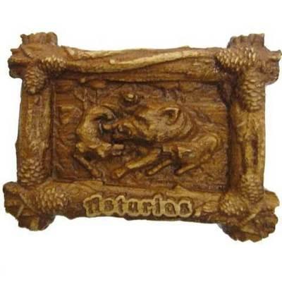 Imán madera tallada fauna asturiana