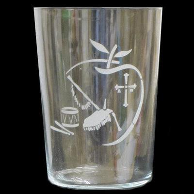 Vaso sidra motivo manzana, cruz, gaita y tambor