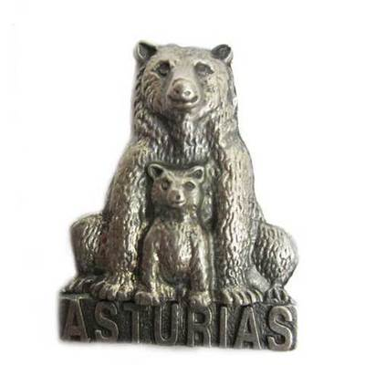 Iman metal oso con cria