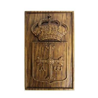 Iman madera tallada escudo de Asturias