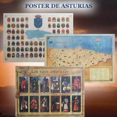 Poster Reyes, Escudos y Mapa de Asturias
