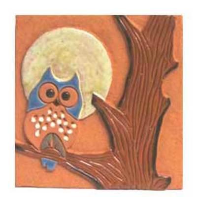 Buhos ceramica artesanal  -cuadro colgar