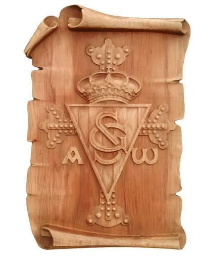 Escudo Real Soprting de Gijón con cruz de la Victoria - Pergamino para colgar