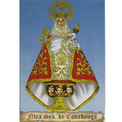 Azulejo Virgen Covadonga fondo azul