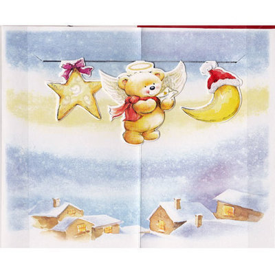Postal navidad figuras recontadas grande oro