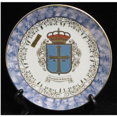 Plato porcelana color escudo asturias