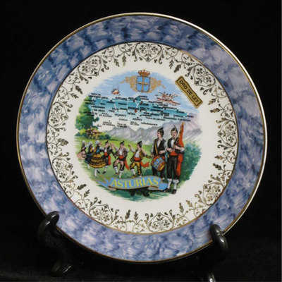 Plato porcelana color mapa astur. con asturianos