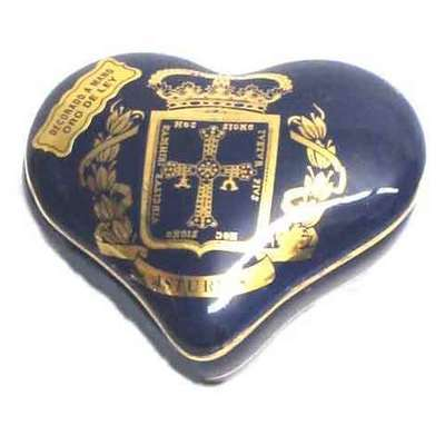 Joyero corazon cobalto - escudo de Asturias