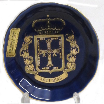 Plato cobalto pequeño- escudo asturias
