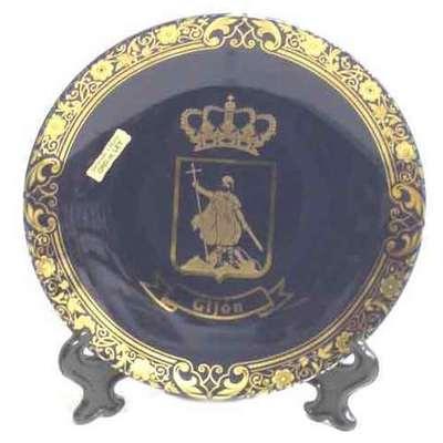 Plato cobalto mediano - motivos asturianos